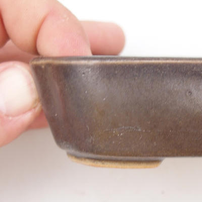 Ceramic bonsai bowl 2nd quality - 12 x 9 x 3 cm, brown color - 2