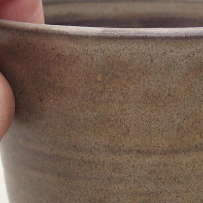 Ceramic bonsai bowl 9.5 x 9.5 x 8.5 cm, brown color - 2