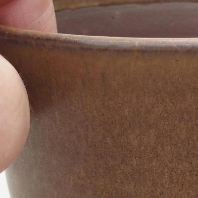 Ceramic bonsai bowl 10 x 10 x 9.5 cm, brown color - 2