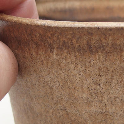 Ceramic bonsai bowl 9.5 x 9.5 x 9 cm, beige color - 2