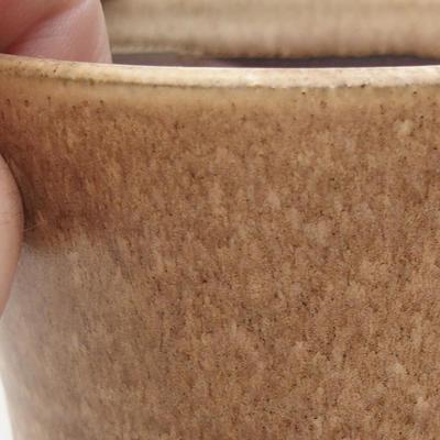Ceramic bonsai bowl 9 x 9 x 9 cm, beige color - 2