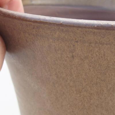 Ceramic bonsai bowl 14.5 x 14.5 x 16.5 cm, brown color - 2