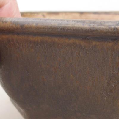 Ceramic bonsai bowl 15.5 x 15.5 x 6.5 cm, brown color - 2