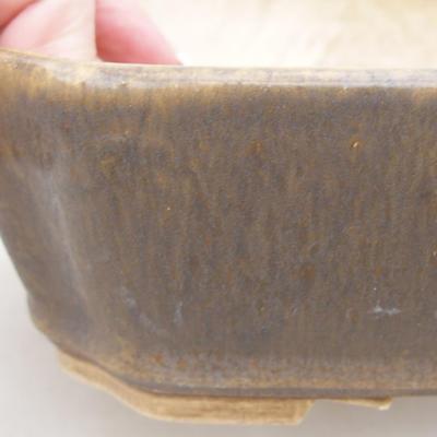 Ceramic bonsai bowl 20 x 17 x 5.5 cm, brown color - 2