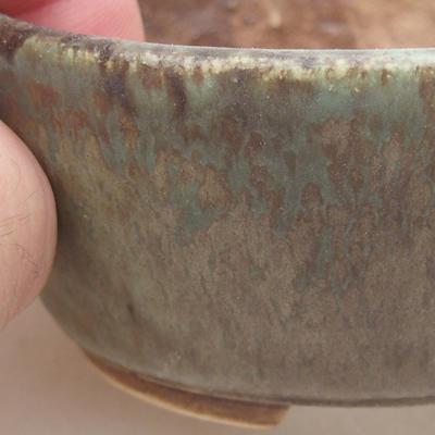 Ceramic bonsai bowl 7.5 x 6.5 x 3.5 cm, color green - 2
