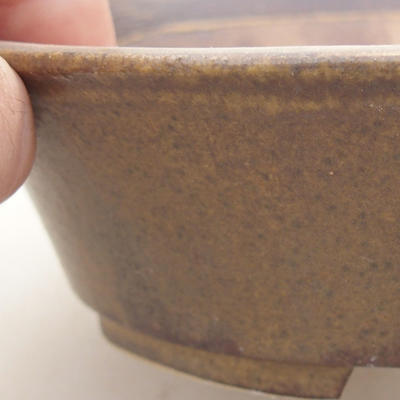 Ceramic bonsai bowl 14 x 12 x 3.5 cm, brown color - 2