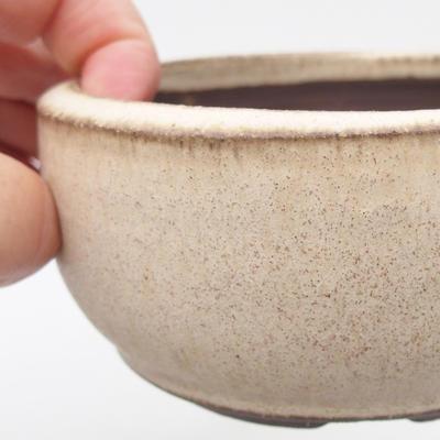 Ceramic bonsai bowl 10 x 10 x 5 cm, color beige - 2