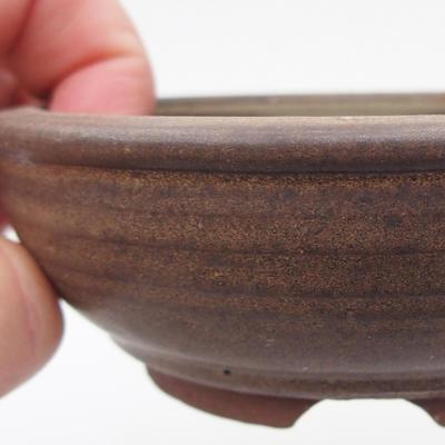 Ceramic bonsai bowl 10 x 10 x 3,5 cm, brown color - 2