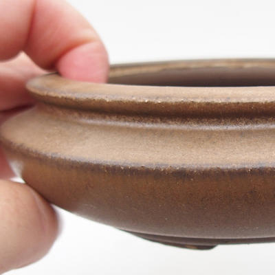 Ceramic bonsai bowl 11 x 11 x 4 cm, brown color - 2