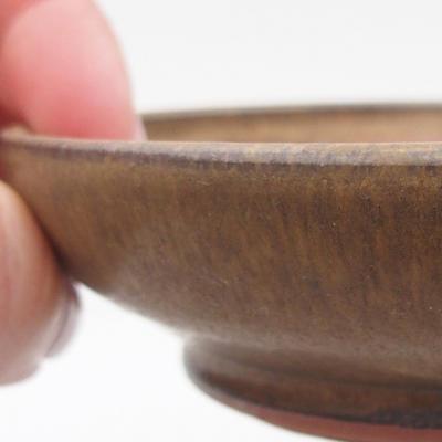 Ceramic bonsai bowl 11 x 11 x, 3 cm, brown color - 2