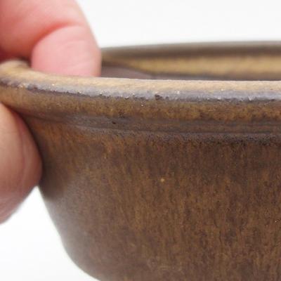 Ceramic bonsai bowl 10 x 10 x, 3,5 cm, brown color - 2