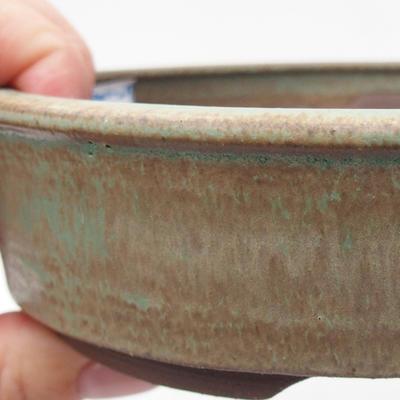 Ceramic bonsai bowl 15 x 15 x 4 cm, brown-green color - 2
