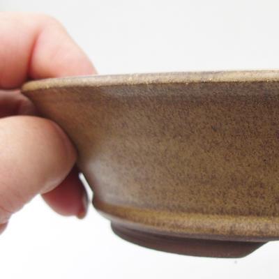 Ceramic bonsai bowl 17,5 x 17,5 x 4,5 cm, yellow-brown color - 2