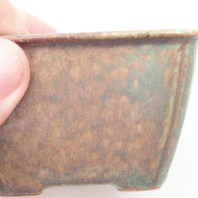 Ceramic bonsai bowl 8.5 x 8.5 x 5 cm, color brown-green - 2