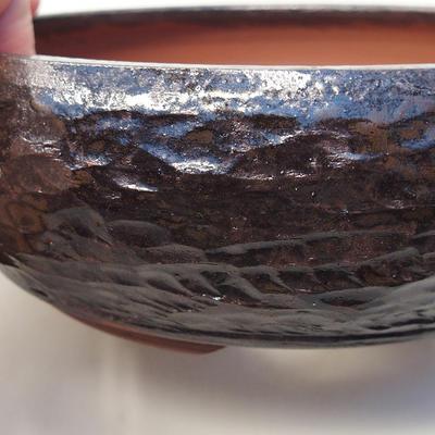 Ceramic bonsai bowl 15 x 15 x 5.5 cm, brown color - 2