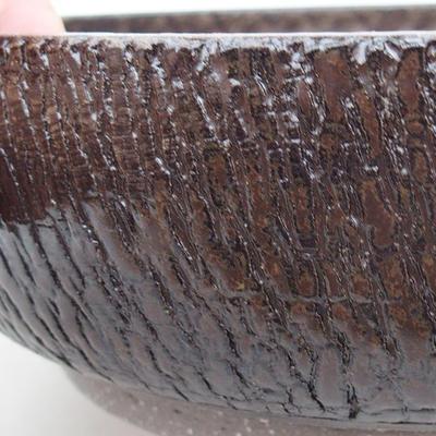 Ceramic bonsai bowl 18 x 18 x 6 cm, color brown - 2