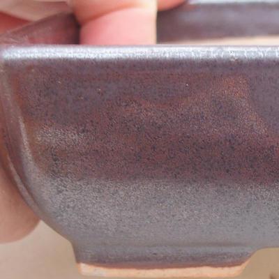 Ceramic bonsai bowl 13 x 10 x 4 cm, brown color - 2