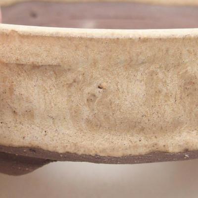 Ceramic bonsai bowl 9 x 9 x 3 cm, beige color - 2