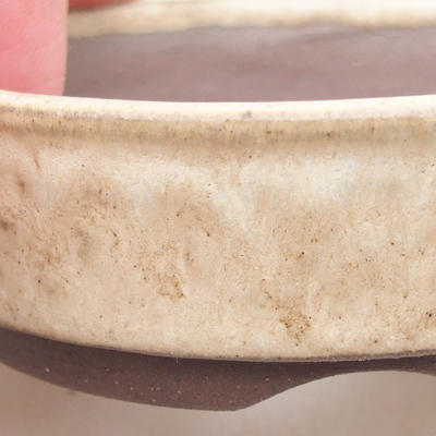 Ceramic bonsai bowl 8.5 x 8.5 x 2.5 cm, beige color - 2