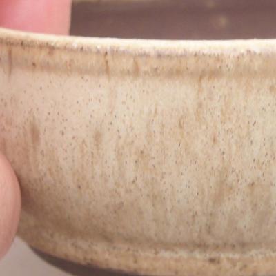 Ceramic bonsai bowl 8 x 8 x 3.5 cm, beige color - 2
