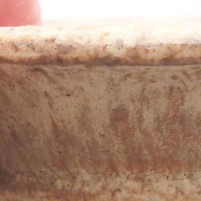 Ceramic bonsai bowl 9 x 9 x 2.5 cm, beige color - 2