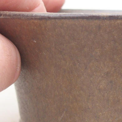 Ceramic bonsai bowl 10.5 x 10.5 x 5 cm, brown color - 2
