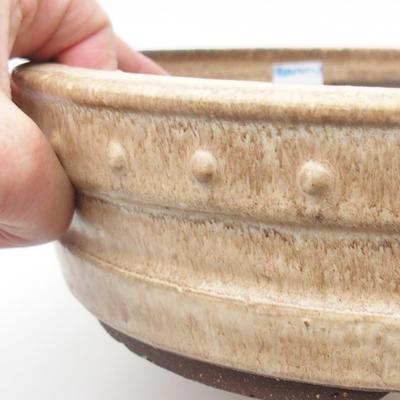 Ceramic bonsai bowl 25 x 25 x 7 cm, color beige - 2