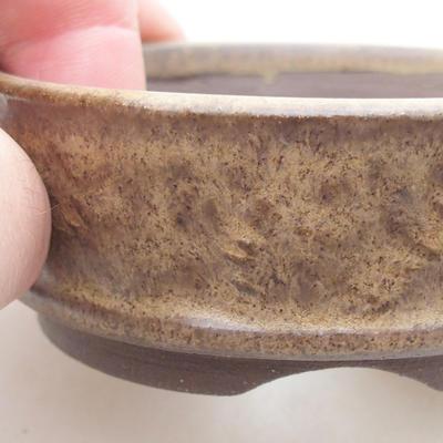 Ceramic bonsai bowl 7.5 x 7.5 x 2.5 cm, brown color - 2