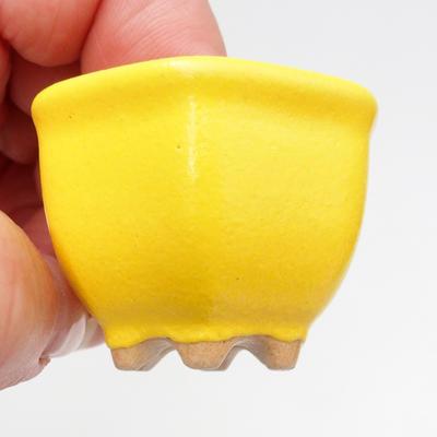 Mini bonsai bowl 4 x 4 x 3 cm, yellow color - 2
