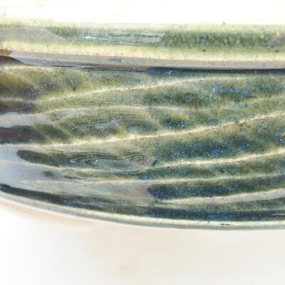 Ceramic bonsai bowl 19.5 x 19.5 x 5 cm, color green - 2