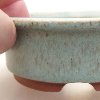 Ceramic bonsai bowl 10 x 10 x 3.5 cm, color green - 2