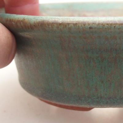 Ceramic bonsai bowl 11 x 11 x 4 cm, color green - 2