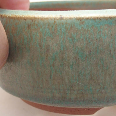 Ceramic bonsai bowl 10 x 10 x 4.5 cm, color green - 2