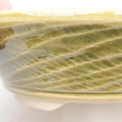 Ceramic bonsai bowl 15.5 x 15.5 x 4.5 cm, color green - 2