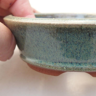 Ceramic bonsai bowl 10.5 x 10.5 x 3.5 cm, color green - 2