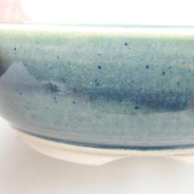 Ceramic bonsai bowl 12.5 x 12.5 x 4 cm, color green - 2
