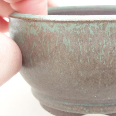 Ceramic bonsai bowl 8 x 8 x 4.5 cm, color green - 2