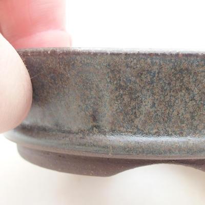 Ceramic bonsai bowl 10 x 10 x 2.5 cm, color green - 2