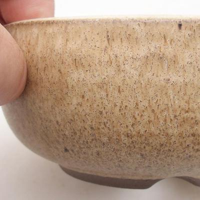 Ceramic bonsai bowl 10.5 x 10.5 x 5 cm, beige color - 2