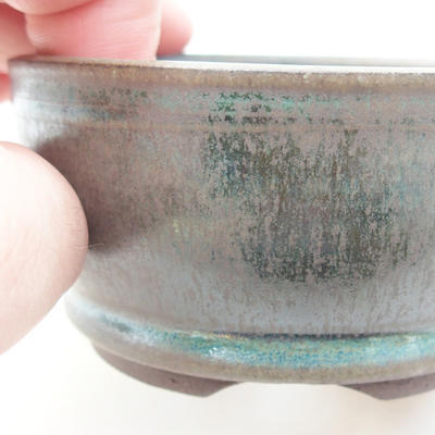 Ceramic bonsai bowl 8.5 x 8.5 x 4.5 cm, color green - 2