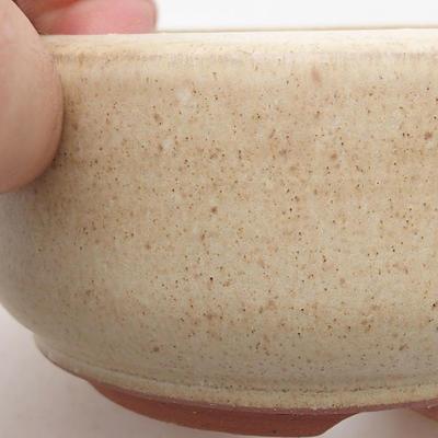 Ceramic bonsai bowl 9 x 9 x 4.5 cm, beige color - 2