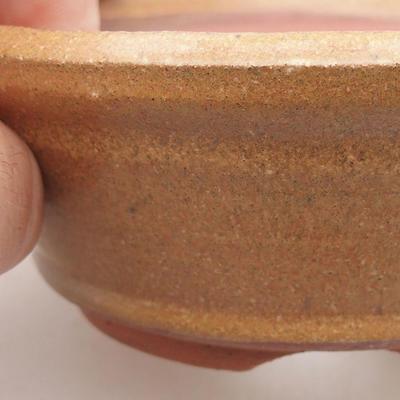 Ceramic bonsai bowl 10.5 x 10.5 x 4 cm, brown color - 2