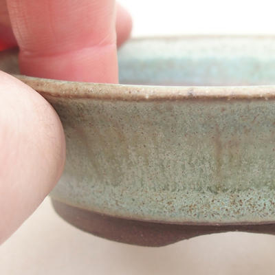 Ceramic bonsai bowl 9 x 9 x 3.5 cm, color green - 2