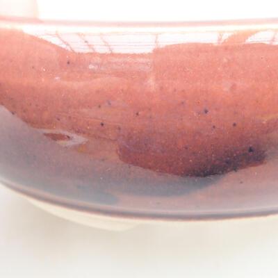 Ceramic bonsai bowl 13 x 13 x 4.5 cm, burgundy color - 2