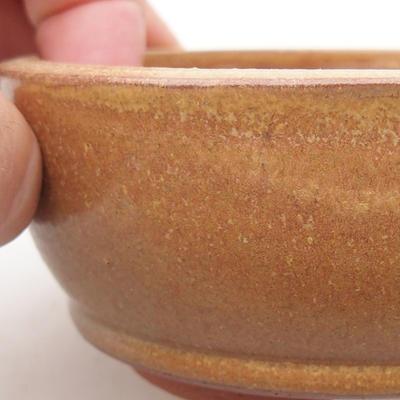 Ceramic bonsai bowl 9.5 x 9.5 x 4 cm, brown color - 2