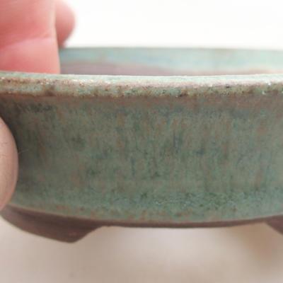 Ceramic bonsai bowl 9.5 x 9.5 x 2.5 cm, color green - 2