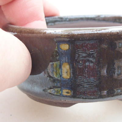 Ceramic bonsai bowl 8 x 8 x 3 cm, color green - 2