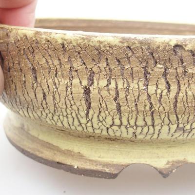 Ceramic bonsai bowl 16 x 16 x 5 cm, yellow color - 2