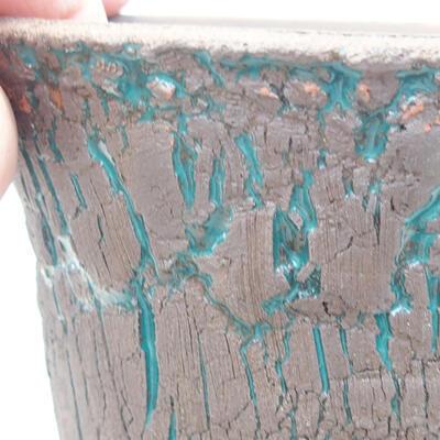Ceramic bonsai bowl 12.5 x 12.5 x 13.5 cm, color green - 2