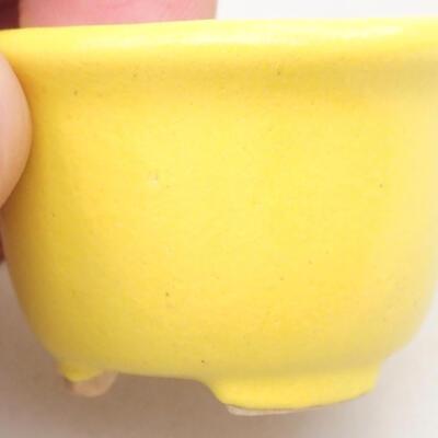 Mini bonsai bowl 3.5 x 3.5 x 2.5 cm, yellow color - 2